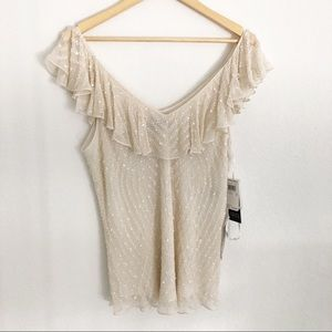 NWOT Adrianna Papell Ivory V Neck Beaded Top